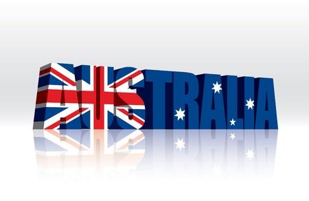 3D Australia Word Text Flag