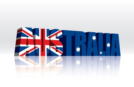 3D Australia Word Text Flag