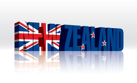 3D New Zealand Word Text Flag