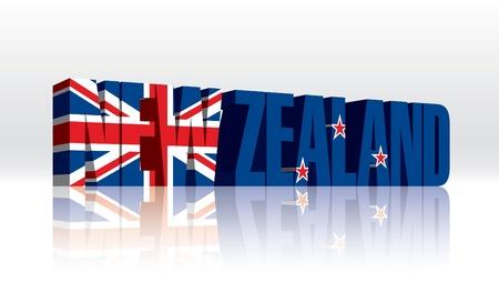 bandera de nueva zelanda: 3D Nueva Zelanda Word Texto Flag Vectores