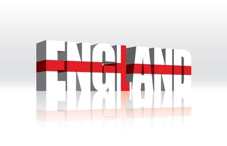 3D England Word Text Flag