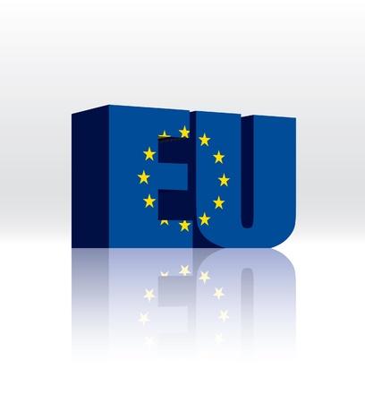 유럽의: 3D EU (유럽 연합) 워드 텍스트 플래그