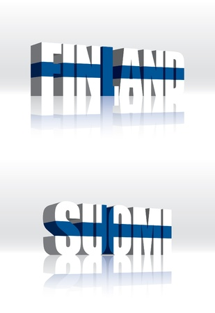 suomi: 3D Finland (Suomi) Word Text Flag  Illustration