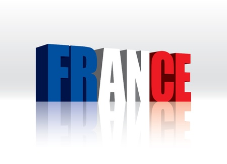 french flag: 3D France Word Text Flag