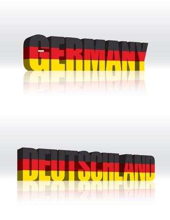 3D Germany (Deutschland) Word Text Flag  Vector
