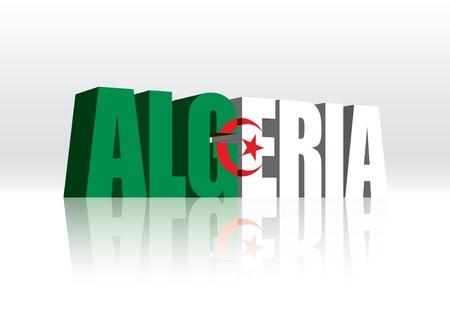 algerian flag: 3D Algeria Word Text Flag