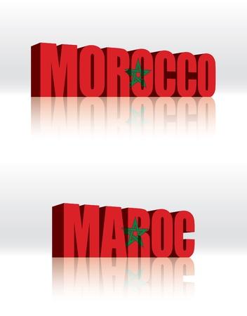 3D Morocco Word Text Flag