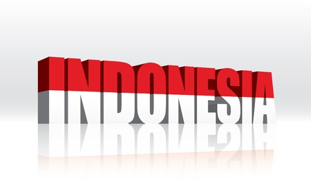 indonesian flag: 3D Indonesia Word Text Flag