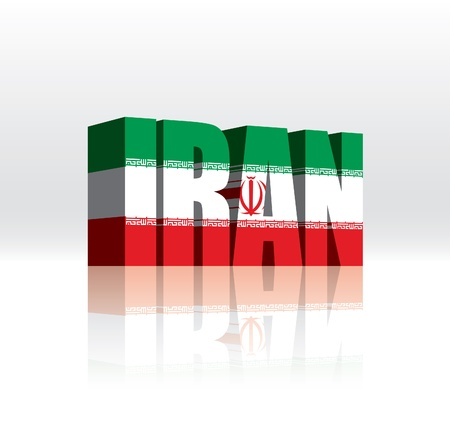 3D Iran Word Text Flag  Vector