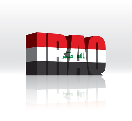 3D Iraq Word Text Flag  Vector