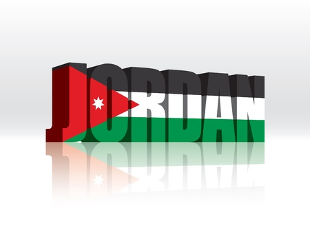 3D Jordanië Word Tekst Vlag