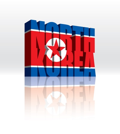 3D North Korea Word Text Flag
