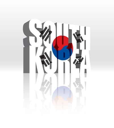 3D South Korea Word Text Flag  Ilustracja