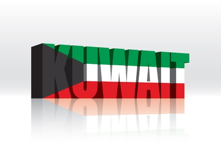 kuwait: 3D Kuwait Word Text Flag