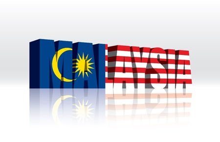 3D Vector Maleisië Word Tekst Vlag