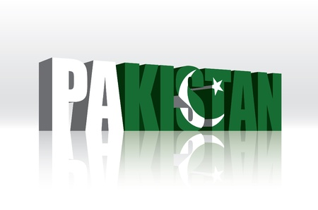 3D Vector Pakistan Word Text Flag  Ilustração
