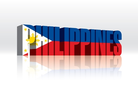 3D Vector Philippines Word Text Flag  Vector