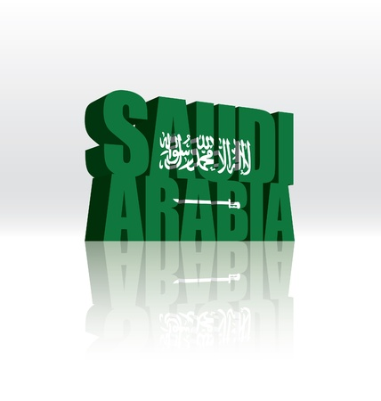 3D Vector Saudi Arabia Word Text Flag  Vector