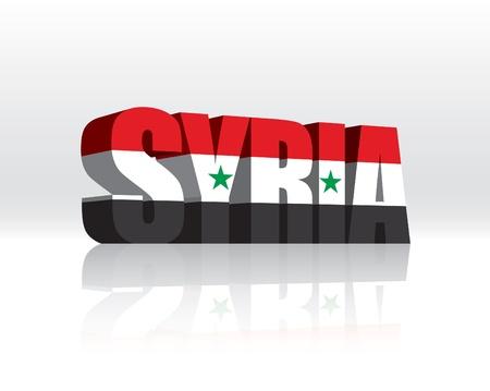 Syryjski: 3D Vector Słowo Syria Flag Tekst Ilustracja