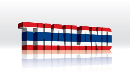 thai arts: 3D Vector Thailand Word Text Flag  Illustration