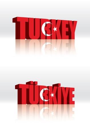 3D Vector Turkey Word Text Flag