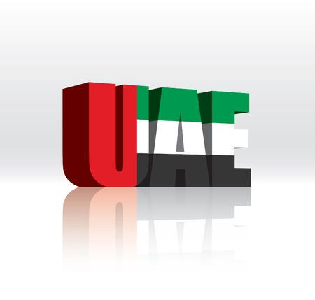 3D Vector United Arab Emirates (UAE) Word Text Flag  Ilustracja