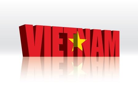 3D Vector Vietnam Word Text Flag