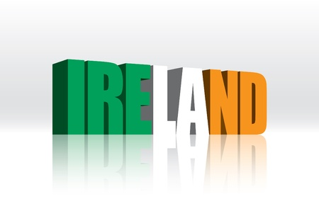 ireland flag: 3D Vector Ireland Word Text Flag