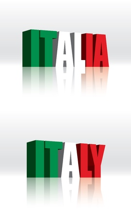 3D Vector Italy (Italia) Word Text Flag  Vector