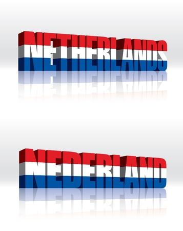 3D Vector Nederland (Nederland) Word Tekst Vlag