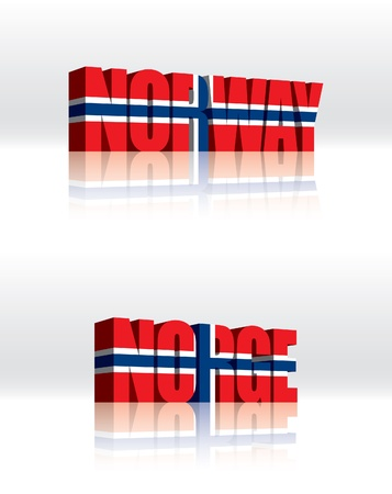 norwegian flag: 3D Vector Norway (Norge) Word Text Flag