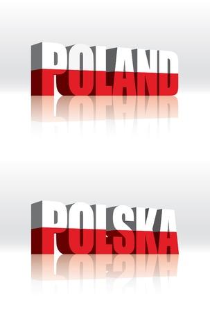 3D Vector Poland (Polska) Word Text Flag  Illustration