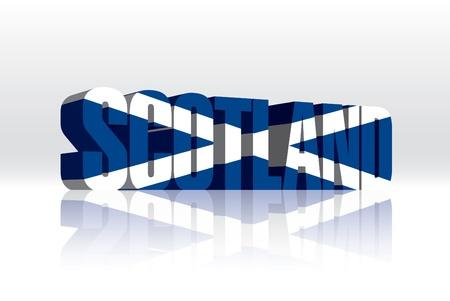 3D Vector Scotland Word Text Flag  Stock Vector - 16272494