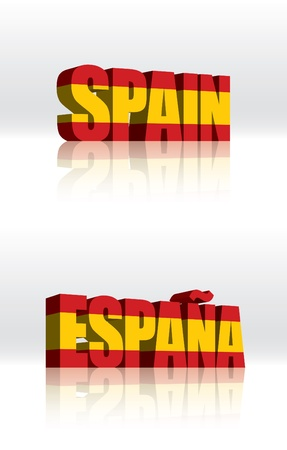 3D Vector Spain (Espana) Word Text Flag  Vector