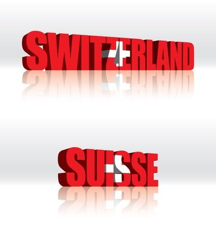3D Vector Switzerland (Suisse) Word Text Flag