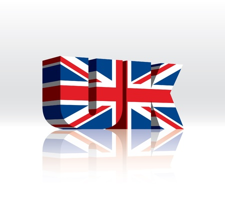 union jack: 3D Vector UK (United Kingdom) Word Text Flag