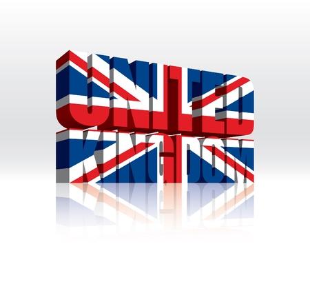 3D Vector United Kingdom (UK) Word Text Flag Stock Vector - 16272503