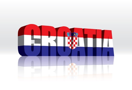 croatia: 3D Vector Croatia Word Text Flag  Illustration