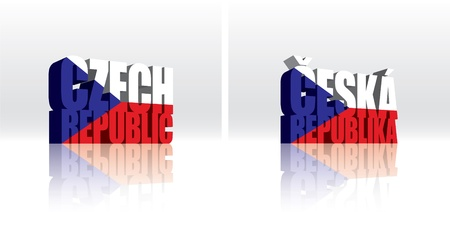 3D Vector Czech Republic (Ceska Republika) Word Text Flag  向量圖像
