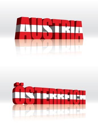 3D Vector Austria (Osterreich) Word Text Flag