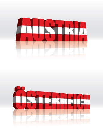 3D Vector Austria (Osterreich) Word Text Flag  Stock Vector - 16272518