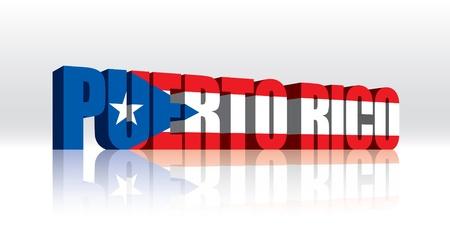 3D Vector Puerto Rico Word Text Flag