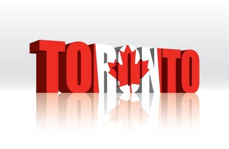 3D Toronto (Canada) Vector Word Text Flag  Çizim