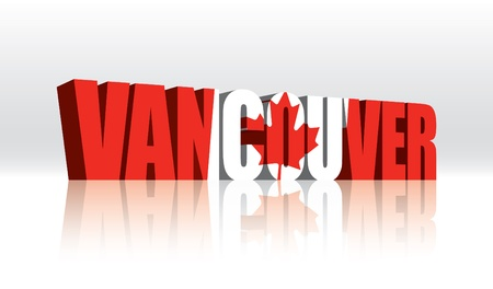 3D Vancouver (Canada) Vector Word Text Flag  Vector