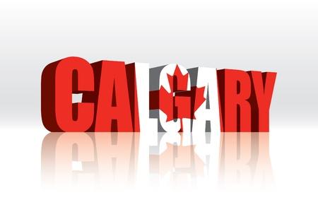 calgary: 3D Calgary (Canada) Vector Word Text Flag