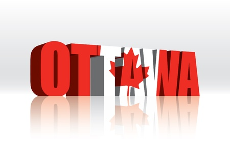 3D Ottawa (Canada) Vector Word Text Flag