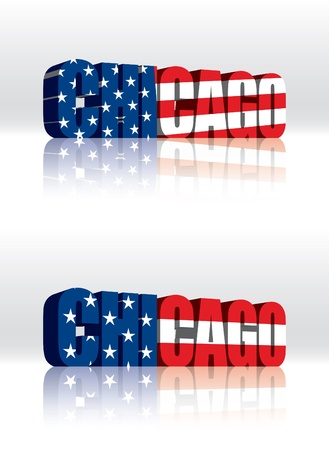 3D Chicago (USA) Vector Word Text Flag  Illusztráció