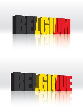 3D Belgium  Belgique  Vector Word Text Flag