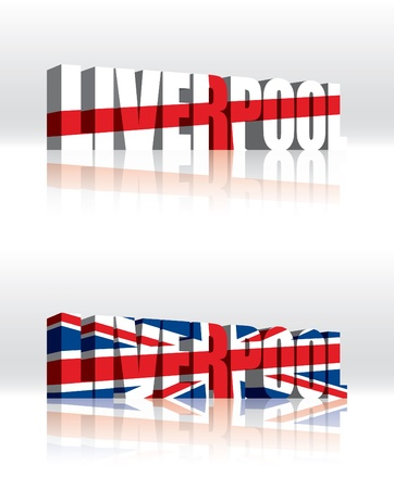 union jack flag: 3D Liverpool (UK) Vector Word Text Flag  Illustration