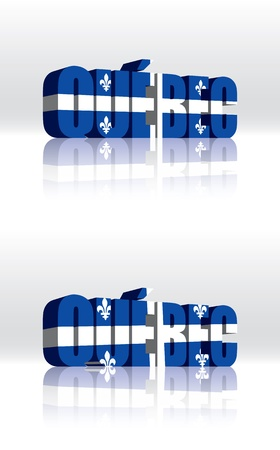 quebec: 3D Quebec (Canada) Vector Word Text Flag